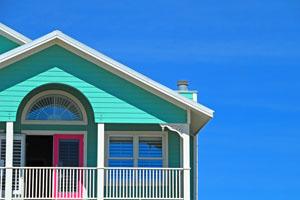 Timeshare, sunny house on a beach